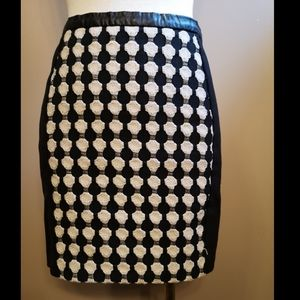 H&M Black Pencil Mini Skirt Faux leather Trim